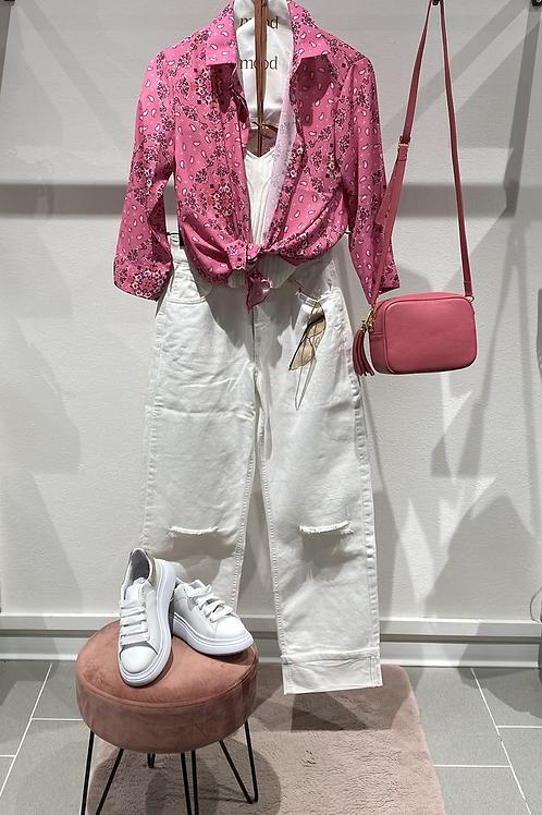 Jeans bianco risvolto e strappi - n. 19