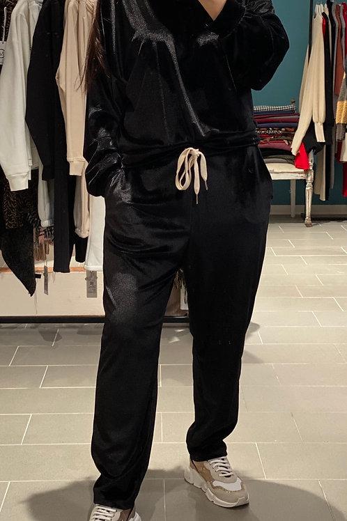 Pantalone tuta in velluto nero