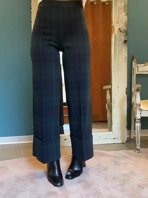 Pantalone a palazzo tartan blu e verde - Ragno
