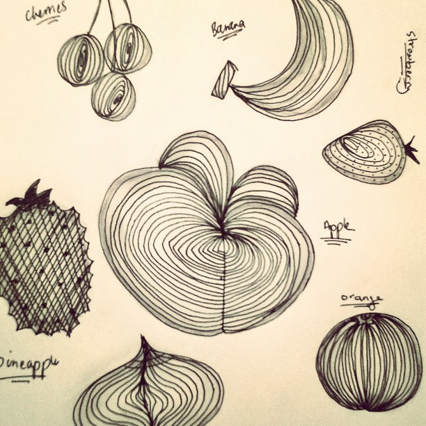 Fruits & fruits #zentangle #inkpen