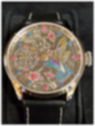 Engraved Dial Hummingbird Watch with Gems