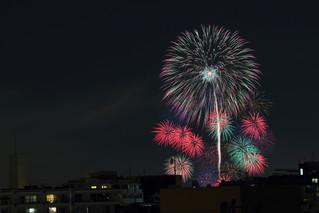 多摩川の花火大会の撮影(自宅から)
