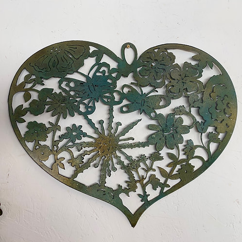 large heart ' butterflies and flowers'