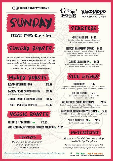 Yakomodo Sunday Sample Menu - The George Payne Pub in Hove