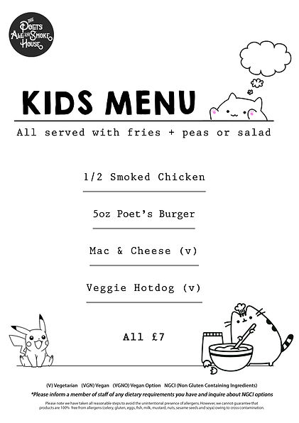 The Poets Kids Menu