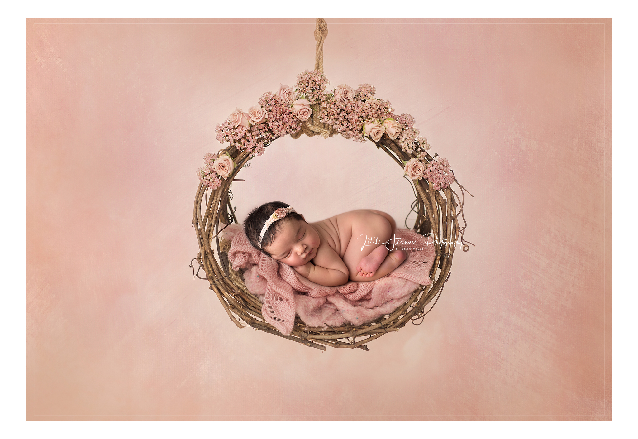 Newborn On floral swing
