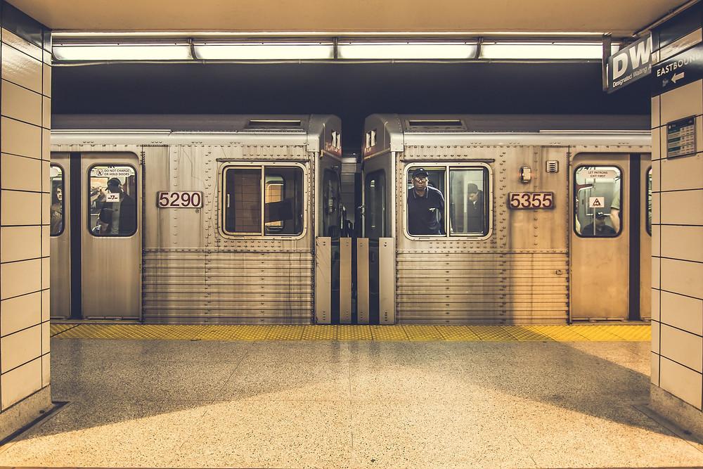 Train cars underground
