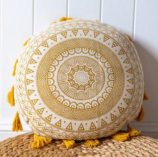 Yellow mandala cushion