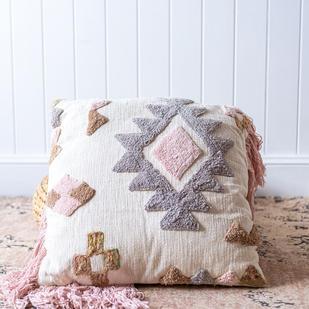 Pink & grey tribal cushion
