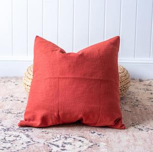 Linen cushion (red)