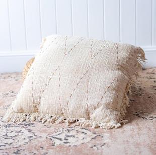 Cream & tan detail cushion