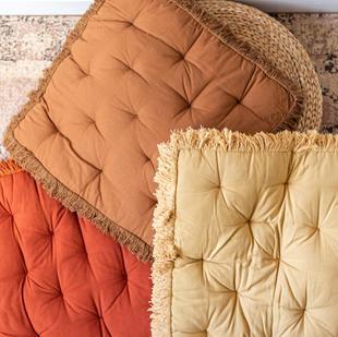 Fringed floor cushion (3 colours)
