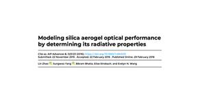 Modeling silica aerogel optical performance by determining its radiative properties.