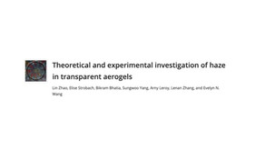 Theoretical and experimental investigation of haze in transparent aerogels.