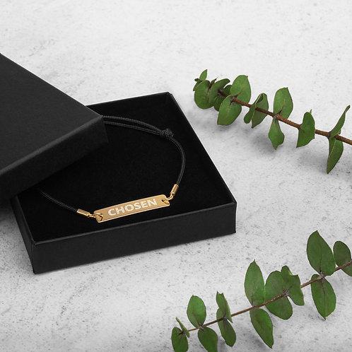"Engraved Silver Bar String Bracelet ""Chosen"""