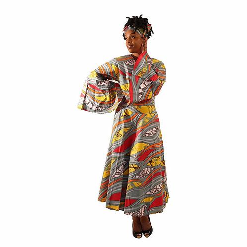 Ankara Wrap Dress with Head Wrap