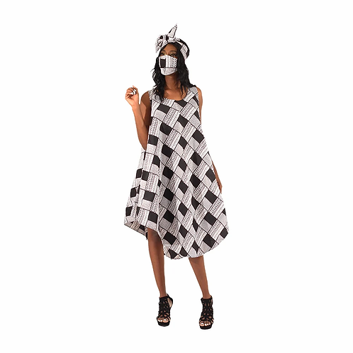 Ankara Umbrella Dress - Headwrap/ Mask Set