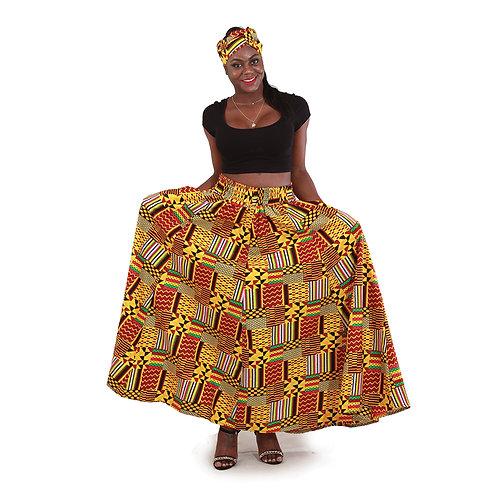 Ankara Maxi Skirts with Head Wraps