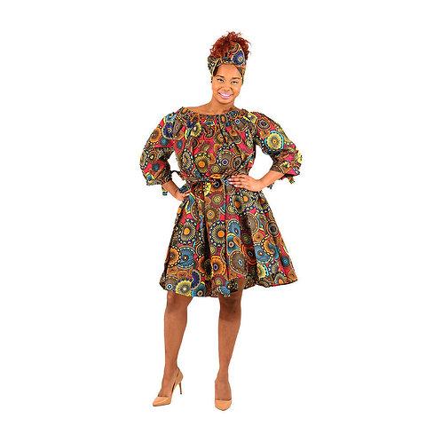 Ankara Off-Shoulder Dress