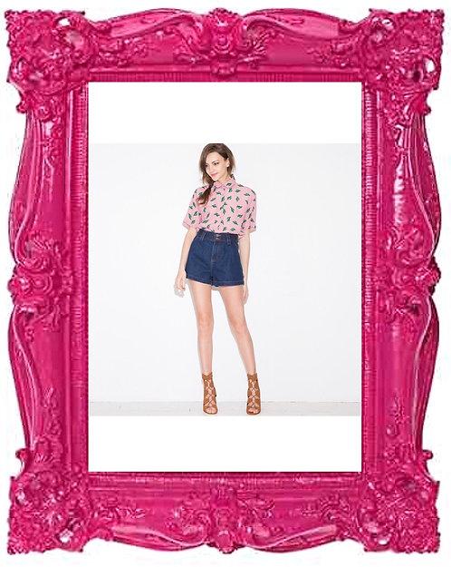 Pink Cactus Print Blouse