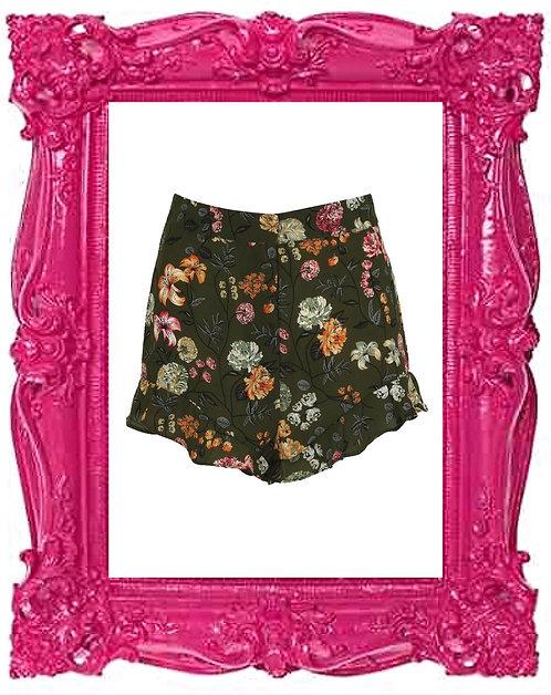 Khaki Floral Printed Ruffle Shorts