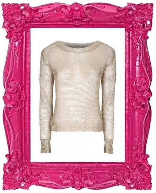 Gold Metallic Knitted Top