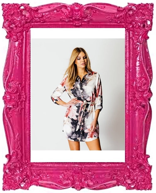 Fuchsia Floral Shirt Dress