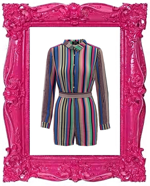 Multi Stripe Tie Playsuit