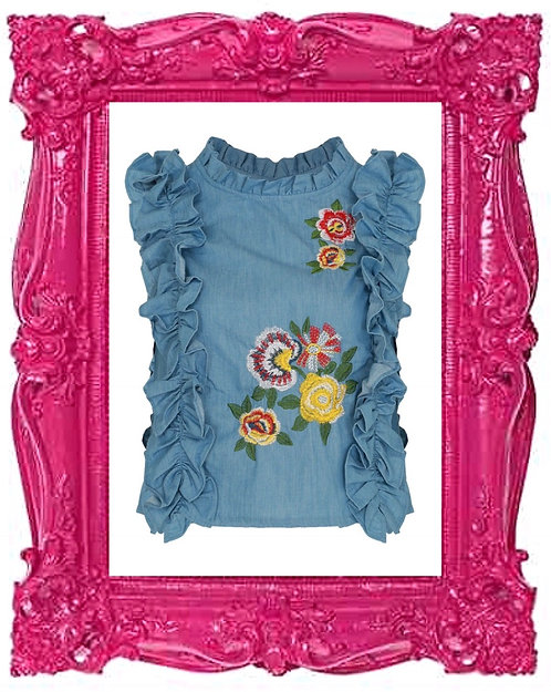 Denim Embroidered Linear Ruffle Top