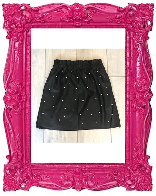 PU Pearl Paper Bag Skirt