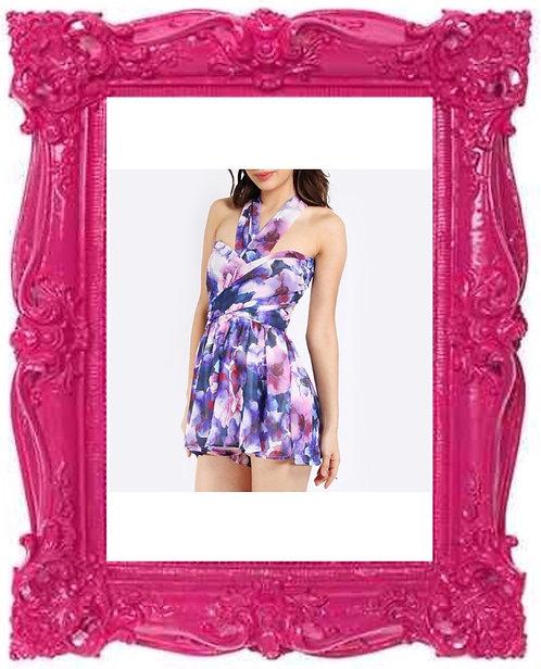 Purple Multiway Floral Playsuit