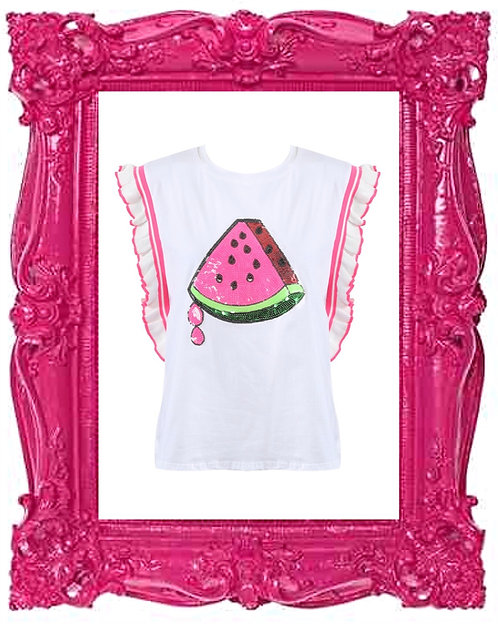 Sequin Ruffle Watermelon Top