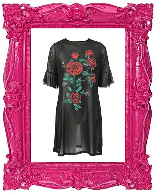 Floral Print Mesh Dress