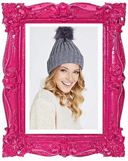 Faux Fur diamanté bobble Knit Hat 3 Colours