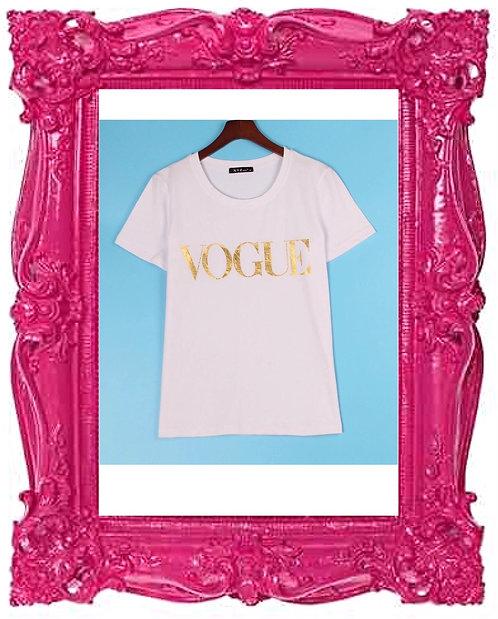 Celeb VOGUE T-shirt White & Gold