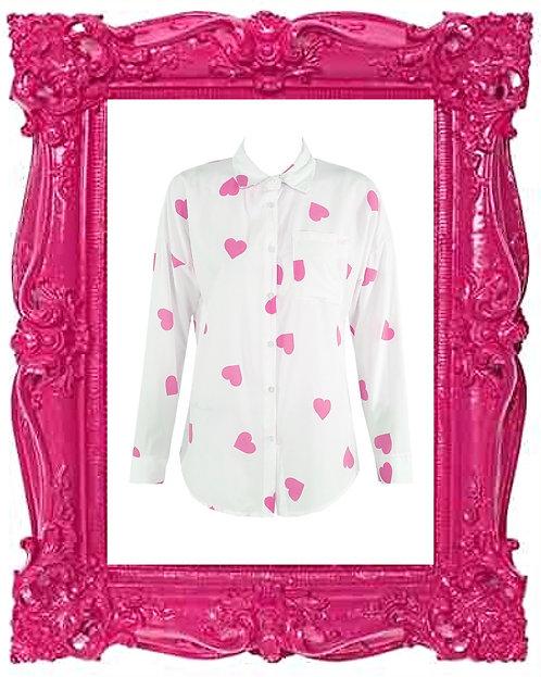Pink heart print blouse