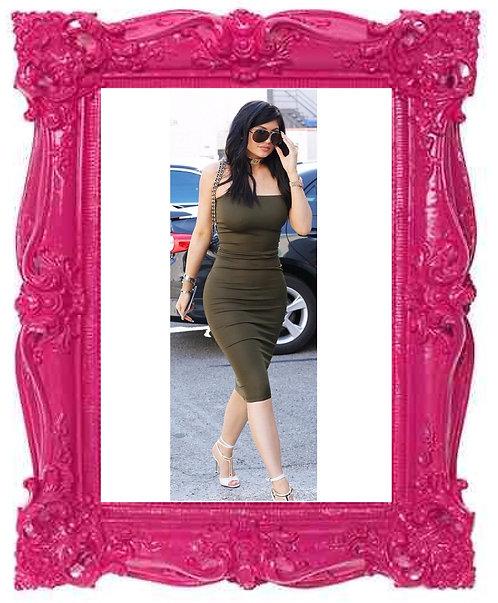 Kylie Khaki Strapless Bodycon Dress