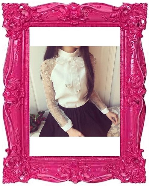 Pearl Pussy Bow Blouse
