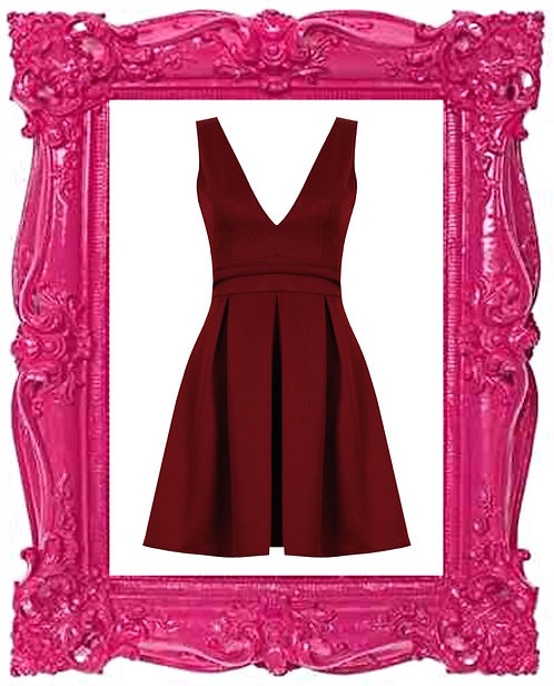 Wine Cut Out Back Skater Dress