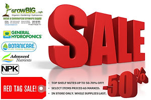 RED TAG SALE at GROWBIGogh