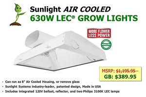 Sunlight Air Cooled 630W LEC Grow Light