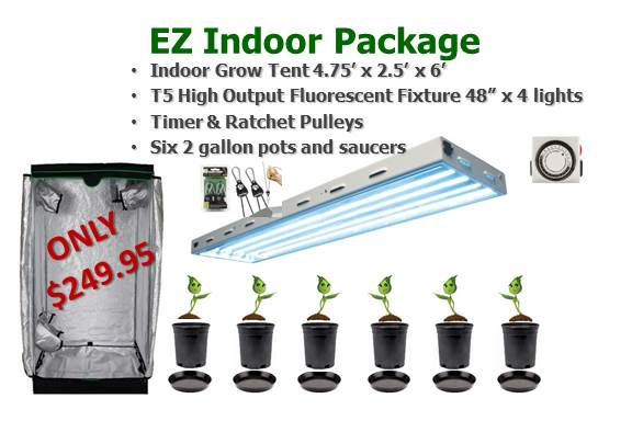 Easy Indoor Grow Room Package $249.95 Tent, Light, Timer, Pots & Saucers complete!