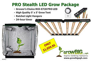GrowBIG PRO Stealth Package featuring ROI-e720 LED Grow Light
