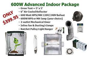 600W watt HPS MH Grow Light Tent Package Air Cooled Exhaust Fan Duct $399.95 Sale GrowBIGogh Gilroy CA