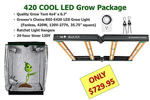 GrowBIG COOL LED Grow Light and Tent Package with ROI-e420