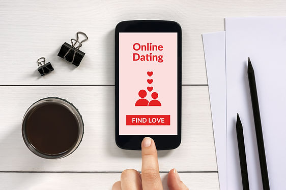 Online dating app mock up on smart phone