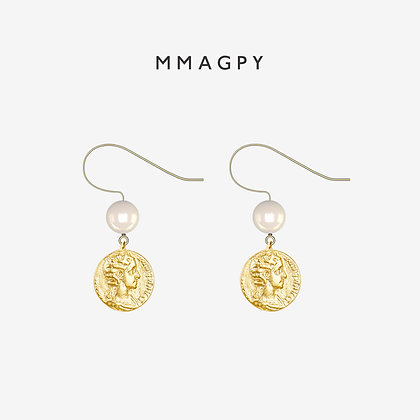 The Golden Coins Earrings,Hooks | 925 Silver Plated 18K Gold