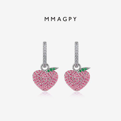 Heart-shaped Peach Earrings