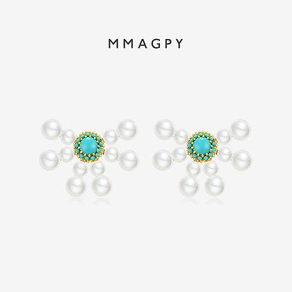 White Night Dandelion Earrings | 925 Silver Plated 18K Gold