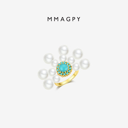 White Night Dandelion Ring | 925 Silver Plated 18K Gold